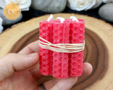 Mini Red Rolled Beeswax Candle