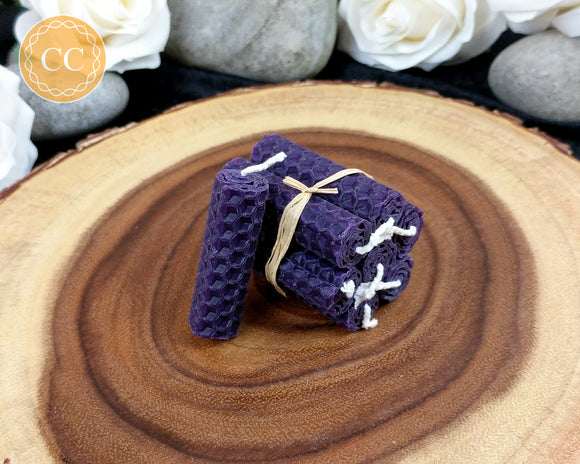 Mini Purple Beeswax Spell Candles