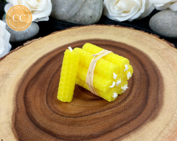 Mini Yellow Beeswax Spell Candles