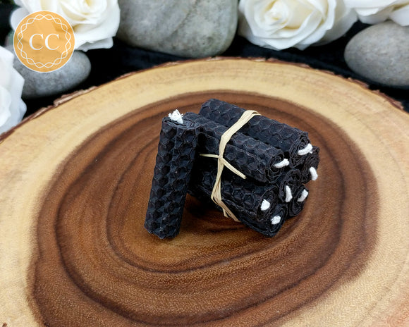 Mini Black Beeswax Spell Candles
