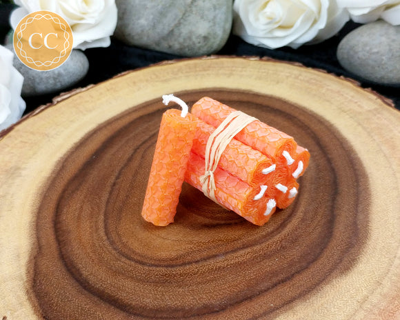 Mini Orange Beeswax Spell Candles