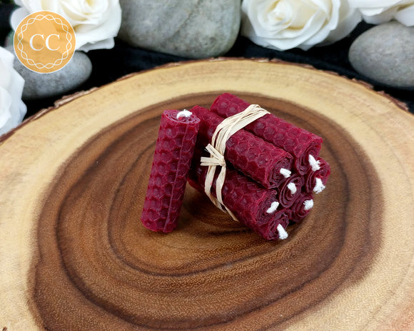 Mini Burgundy Beeswax Spell Candles
