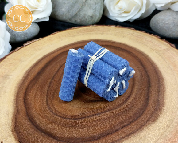 Mini Blue Beeswax Spell Candles