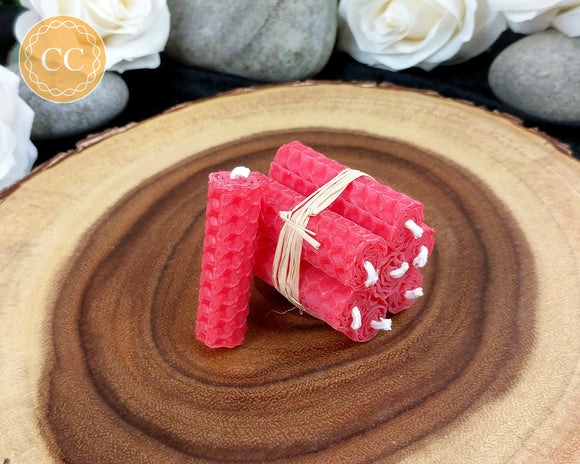 Mini Red Beeswax Spell Candles