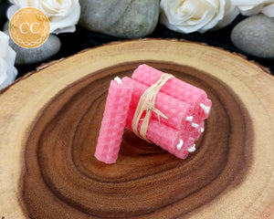 Mini Pink Beeswax Spell Candles