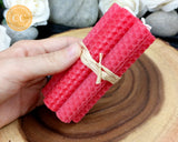 Red Rolled Beeswax Candle