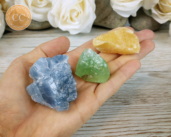 Bundle of blue calcite, green calcite and orange calcite