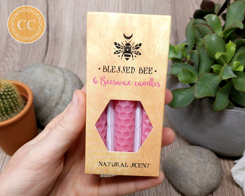 Pink Beeswax Candle Box of 6