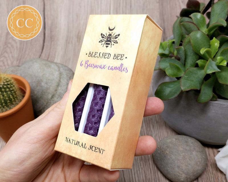 Purple Beeswax Candle Box of 6