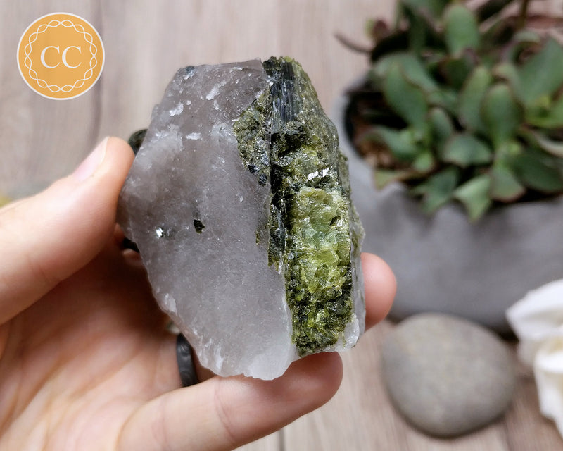 Green Tourmaline in Quartz