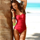 2018 One Piece Swimsuit Women Plus Size Swimwear Female Solid Bathing Suit  Vintage Monokini Bodysuit Beach 34517e8ce