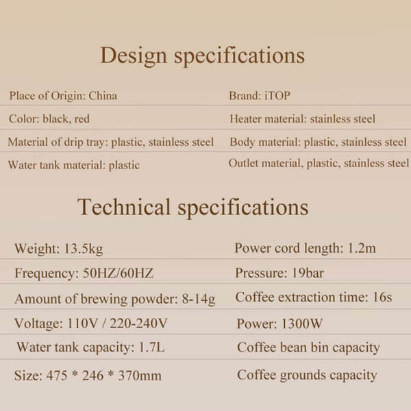 iTOP 202 fully automatic coffee machine specification-- iTOP Coffee