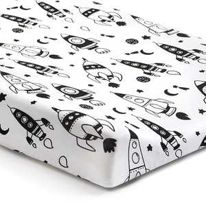 Norani Baby Fitted Changing Pad Cover Black and White rockets
