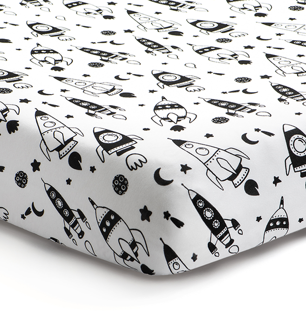 'Out of this World' Rockets Fitted Crib Sheet 1