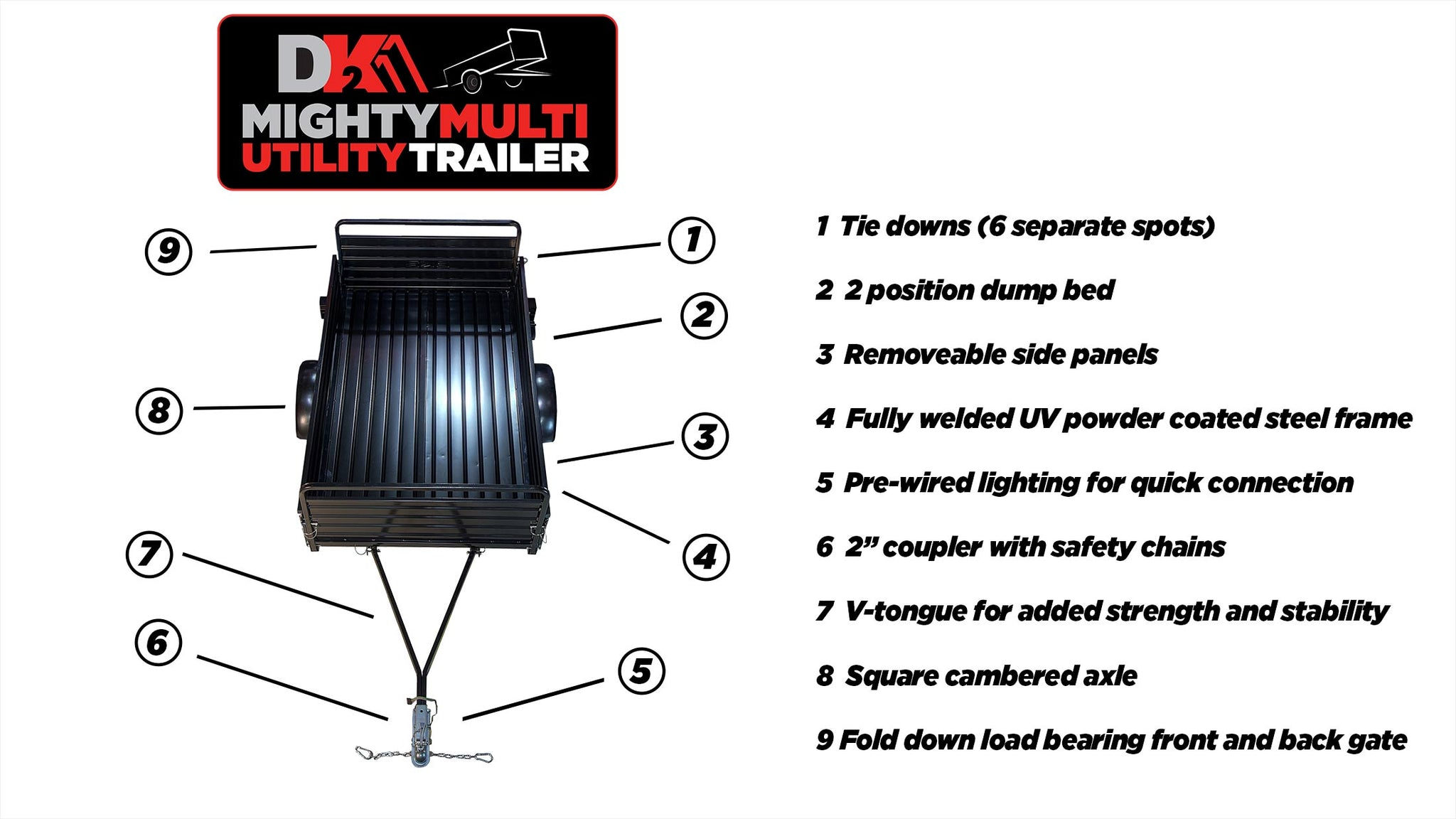 5ft x 7ft Multi Purpose Utility Trailer Kits - Black Powder coated- MMT5X7