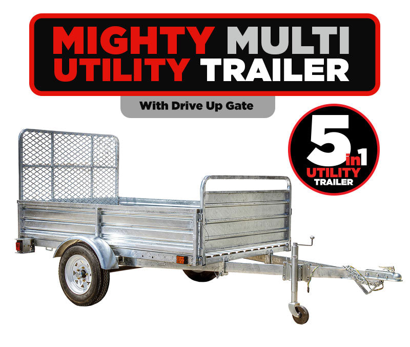 5ft x 7ft Multi Purpose Utility Trailer Kits - Galvanized with DRIVE UP GATE- MMT5X7G