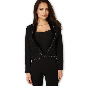 Black Fleece Jacket with a Studded Faux Fur Trim