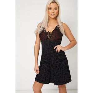 Black Plunge Dress With Lace and Sequin Details