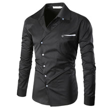Mens oblique long sleeve slim fit shirt