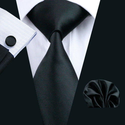 Mens black necktie with Cufflinks and pocket square