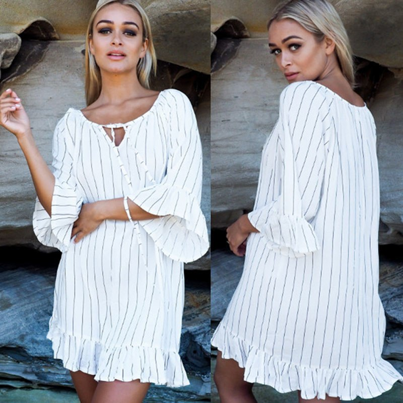 Cotton Striped Tunic Dress