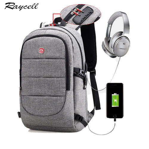 15.6 Inch Laptop Anti-theft Backpack With USB Charging Headphone Interface Port Lock Waterproof