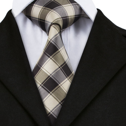 Black Burlywood Plaid Classic 100% Silk Neck Tie