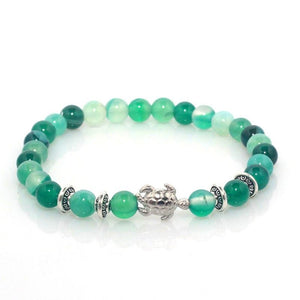 6 mm Stone Beads Stretch Natural Stone Turtle Charm Women Bracelet