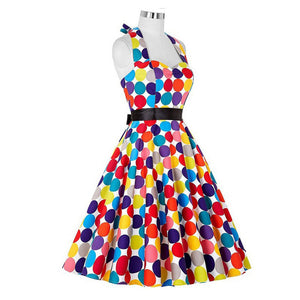 Women Vintage Rainbow Dots Halter Sleeveless Backless Belt  Dress