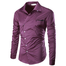 Men's Oblique Breasted Slim Fit Solid Long Sleeves Shirt Plus