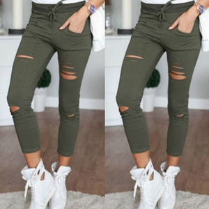 Womens Ripped Skinny Denim Jeans Cut High Waisted