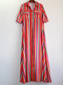 Striped long maxi print dress loose print