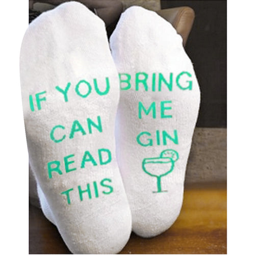 White Mesh Funny Socks Letter Print Short Bring Me Gin - Gadget and gear guru