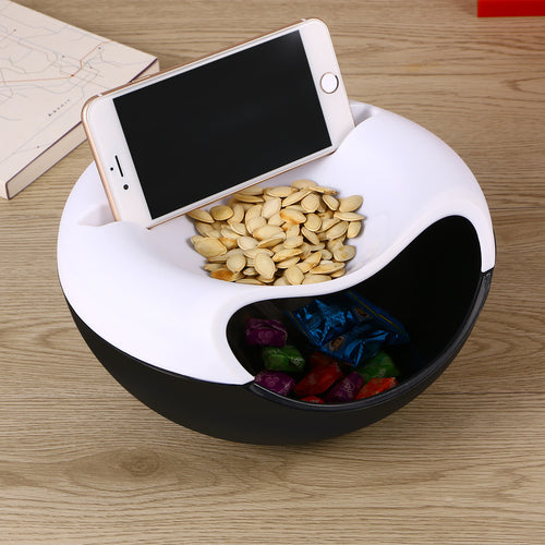 Dual-Layer Snack Storage Box Phone Desktop Holder Shelf