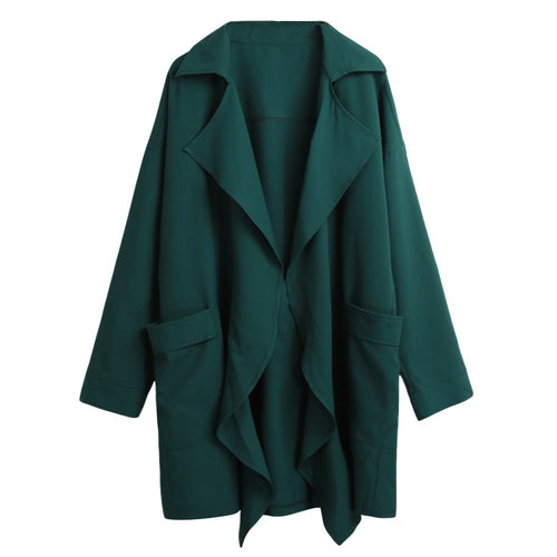 Women Trench Coat Pocket Long Sleeve