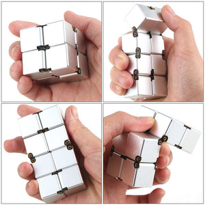 Silver Foldable Unlimited Cube Magic Square Stress Relief Decompression for ADHD Kids Students Adult Fun Entertainment - Gadget and gear guru