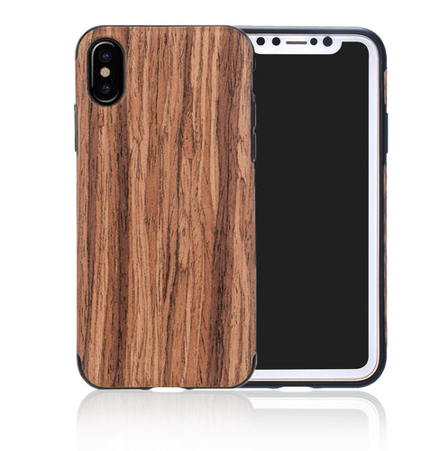 iPhone Wooden Cover Case Shock-Absorption Thin PU Screen Protector