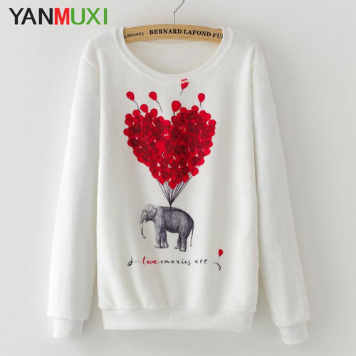 Women's Sweaters Casual Long Sleeve Love Heart Elephant