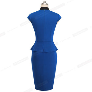 Elegant Pure Color Bodycon Sheath Ruffle Dress