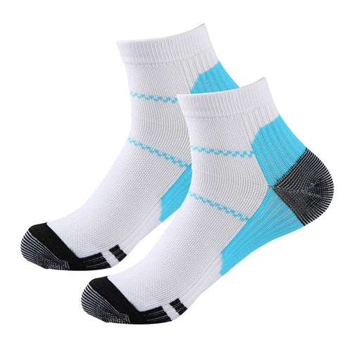 Pair of Compression Socks for Plantar Fasciitis Heel Spurs Pain Relief (Blue+White) - Gadget and gear guru