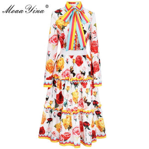 Women Rose Print Ribbon Casual Ruched Ruffles Skirt Set