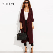 Burgundy Belted Rolled Up Split Back Self Tie Long Trench Coat