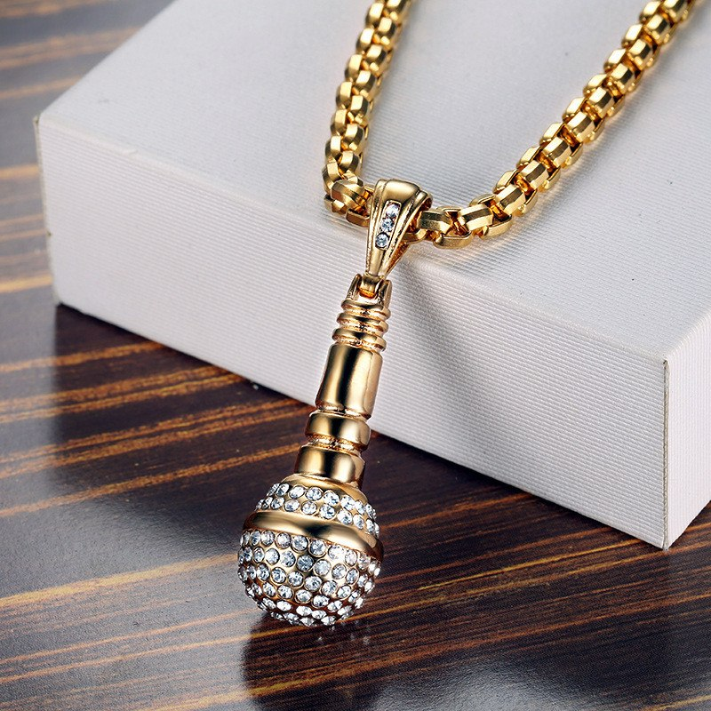Hip Hop Iced Out Bling Microphone Pendants Necklace For Women Men ... e30cd3b0c