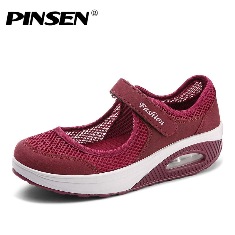 c583c19b1 ... Load image into Gallery viewer, PINSEN 2019 Summer Fashion Women Flat  Platform Shoes Woman Breathable ...