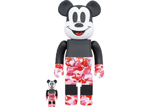 Bearbrick BAPE Mickey Mouse 100% & 400% Set Black/Red Camo