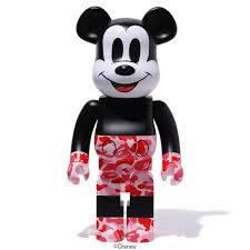 Bearbrick BAPE Mickey Mouse 1000%  Black/Red Camo