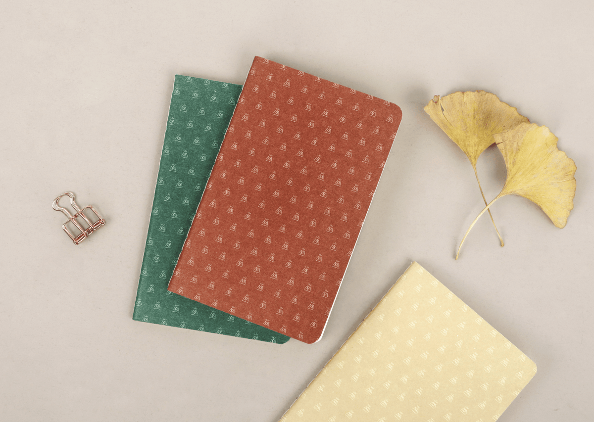 mini note 3-pack with ginko leaves.