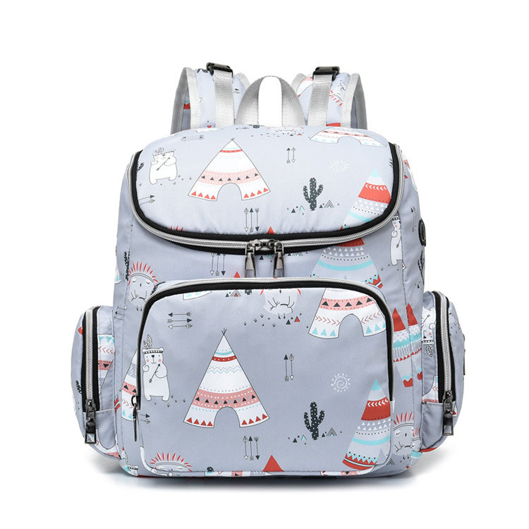 Mommy Tribe Diaper Bag Pack - Grey - Front