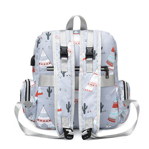 Mommy Tribe Diaper Bag Pack - Grey - Back
