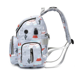 Mommy Tribe Diaper Bag Pack - Grey - Side with straps